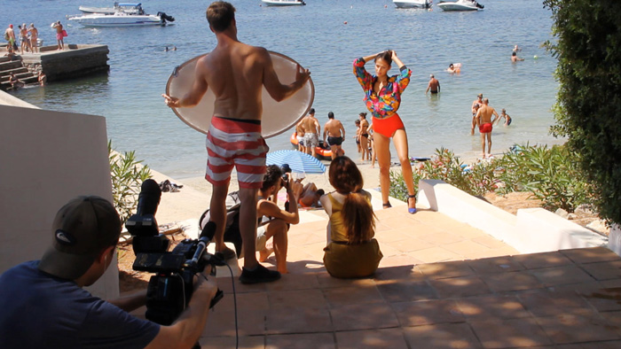 Filming behind the scenes in Ibiza on a shoot with international models.