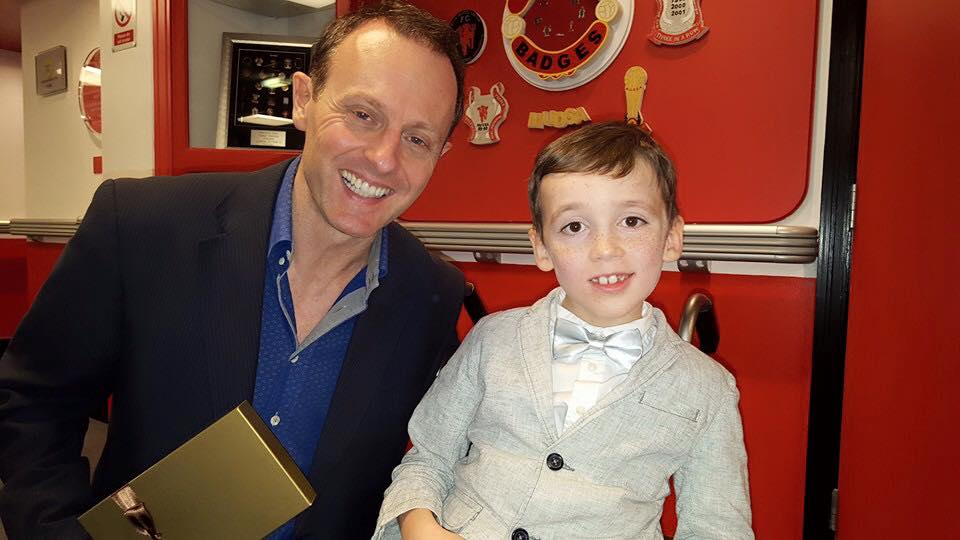 Producer Director John Gubba with eight-year-old Alex Nield,
